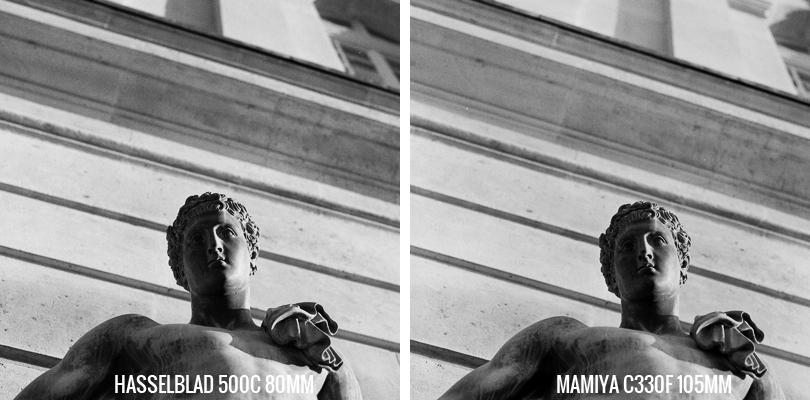 Statue Hasselblad 500C vs Mamiya C330F Tri-X