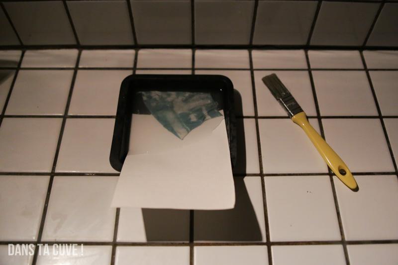 Et hop le papier sous l'émulsion !
